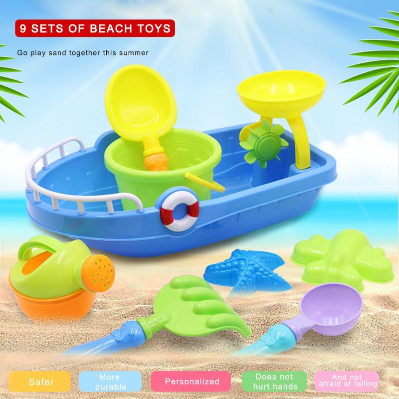 Rosana 9/pcs/Set Beach Sand Water Play Toys Set Fun Beach Boat Beach Bucket Shovel Water Tools Beach Sand Dune Tool Child Gift