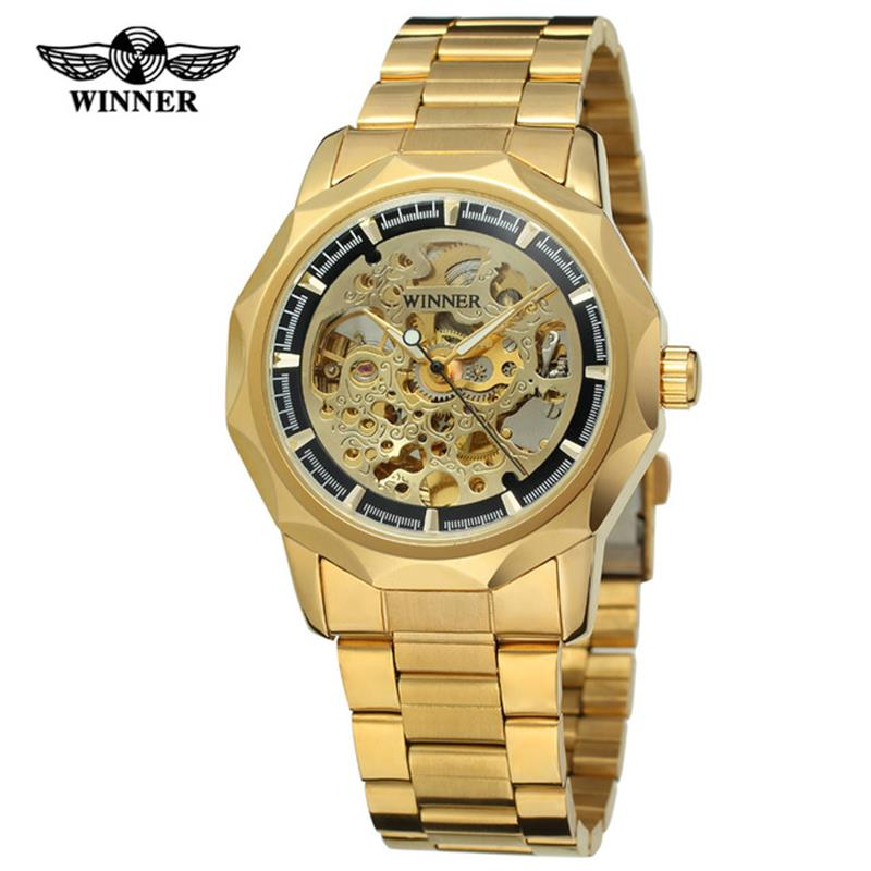 Winner Classic Golden Skeleton Mechanical Watch Men Stainless Steel Strap Top Brand Luxury Man Watch Vip Drop Shipping Wholesale Pleasant To The Palate Men's Watches