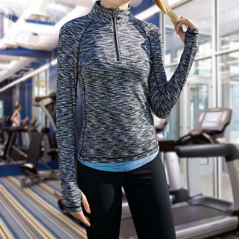 Keptfeet New Women Yoga Top Suit Women Gym Clothes Fitness Running Tracksuit Sports Quick Dry Half-zip Gray S-L