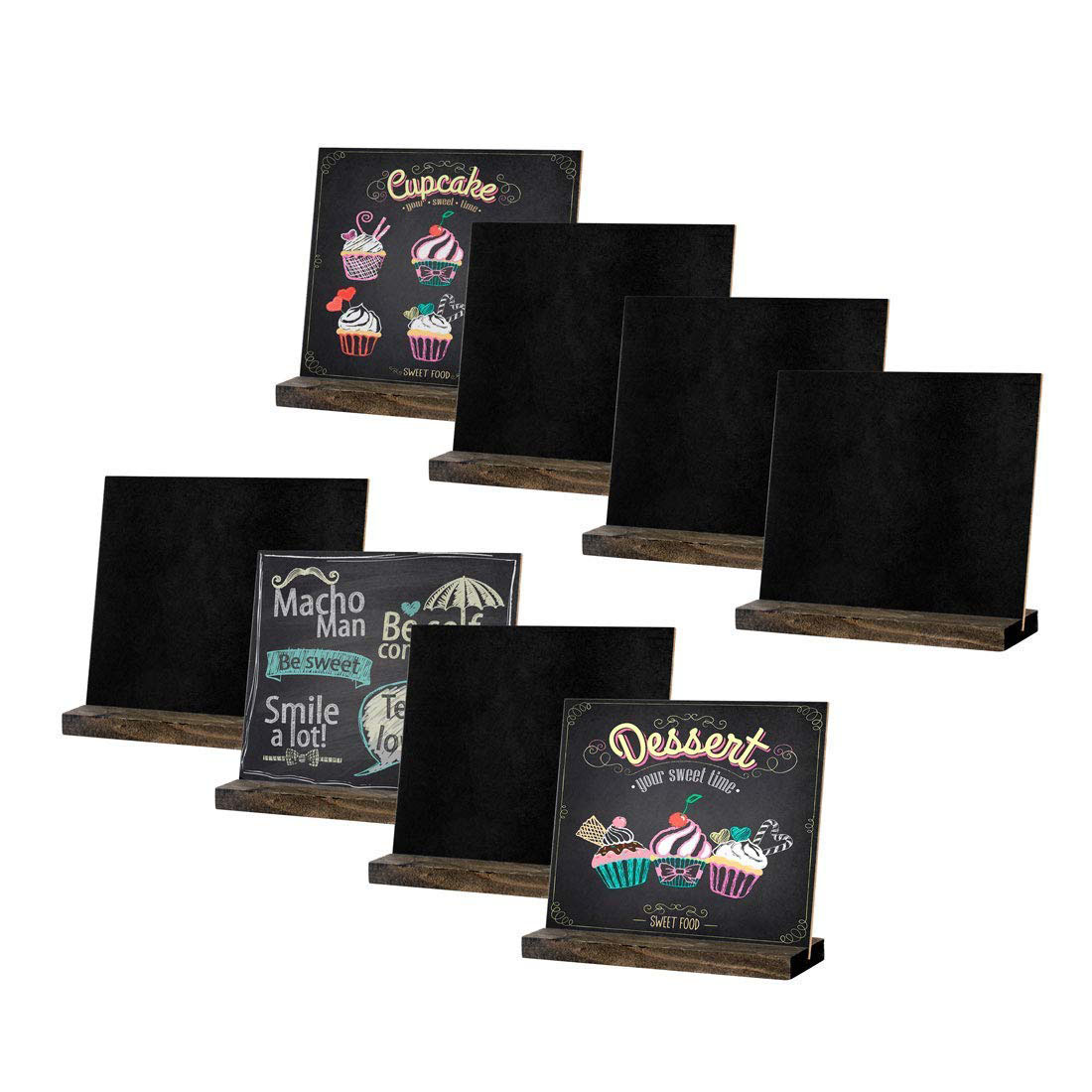 8 Pack Mini Chalkboard Signs, Vintage Wooden Tabletop Chalkboard <font><b>Sign</b></font> with Base Stand, <font><b>Framed</b></font> Message Small Chalkboard <font><b>Sign</b></font> fo image