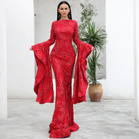 Vivian's Bridal 2018 Vintage Exaggerate Flare Sleeve Mremaid Evening Dress Elegant Wine Long Sleeve Sweep Train Women Party Gown