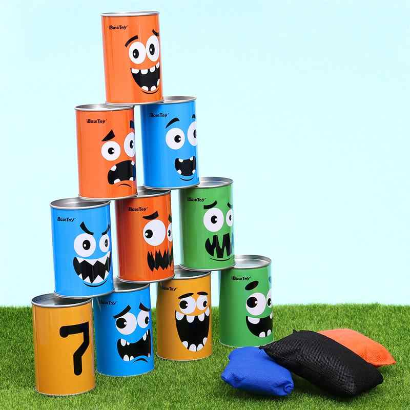 10 Pcs Carnival Bean Bag Can Toss Game Set Circus Party Game For BBQs/Kids Birthday Parties
