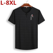 2019 New Plus Size 8xl 7x Chinese Style Or Neck Short Sleeve T Shirt Men Fashion Men Casual Shirts For Men Wpws3902 T-shirt Tops new style and new personality stamp for men s short sleeve t shirts
