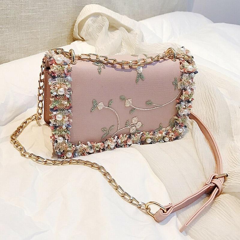 Uk Womens Quilted Chain Bag Leather Shoulder Crossbody Handbag Messenger Purse