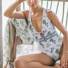 Sexy bodysuit one-piece Floral print bondage swimsuit 2019 Halter bikini push up Deep v swimwear women bathers Monokini