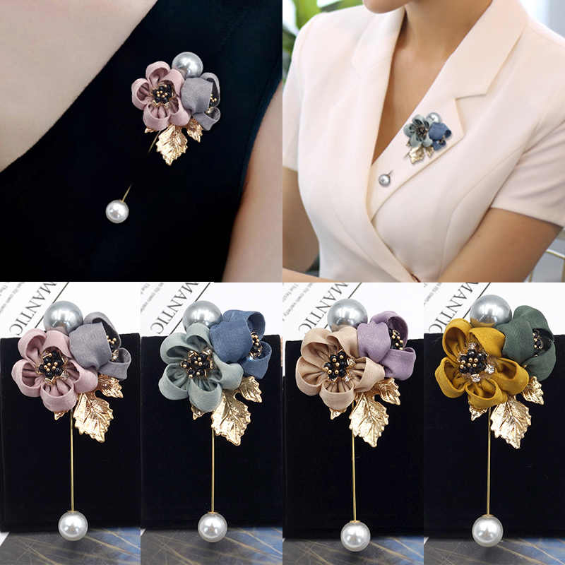 Party Women 1PC Shawl Flower Seaside Cloth Art Pearl Fabric Cardigan Shirt Jewelry Accessories Gifts Ladies Brooch Graceful