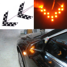 2x 14SMD LED Arrow Panel Car Rear View Mirror Indicator Turn Signal Light Yellow Fits for 12V cars, trucks, motorcycles 2pcs 14smd yellow red blue green white led arrow panels car side mirror turn signal indicator light for dodge journey