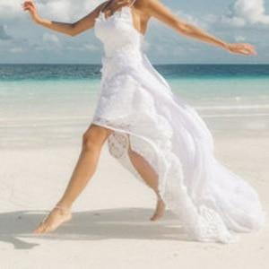 Image 3 - Plaj düğün elbisesi görmek Robe De Mariee 2019 bölünmüş şifon seksi gelin elbiseleri Boho düğün elbisesi spagetti sapanlar