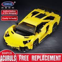 Xingbao 03008 Creative Technic Moc Series The Yellow Flash Racing Car Set Compatible LP Technic Car Blocks Bricks Toys