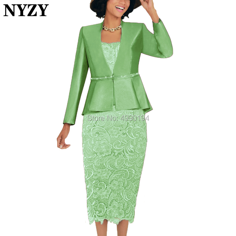 NYZY M137E Grass Green Mother Of The Bride Dresses 2019 With Jacket 2 Piece Sheath Lace Outfits Church Suits For Wedding Party