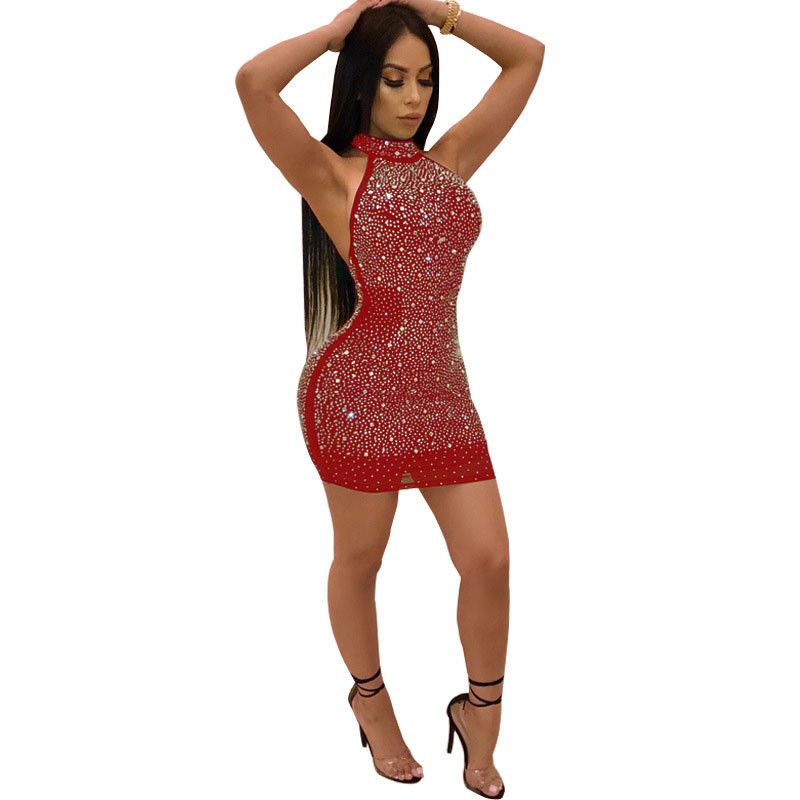 Sexy club dress metal chain sleeveless backless night out dresses