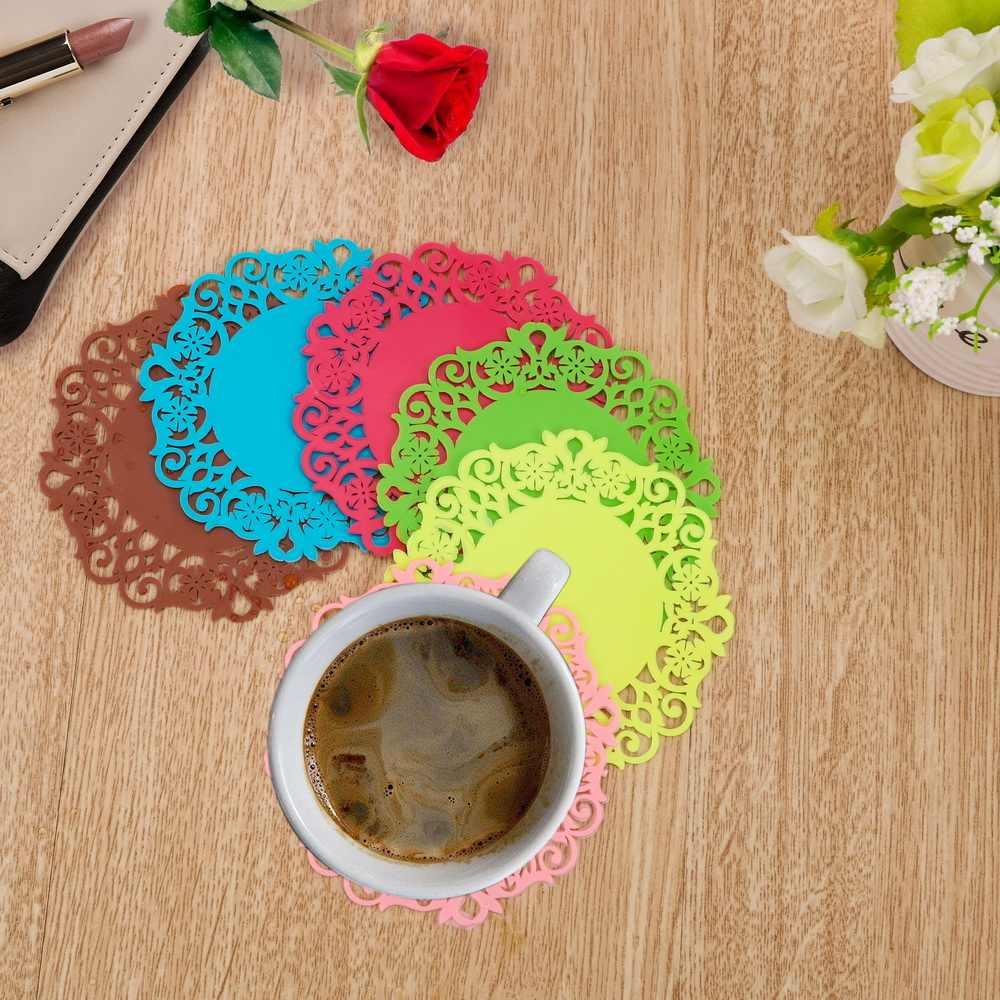 Распродажа, силиконовый подстаканник, коврик для кофе, коврик для чайного столика, Нескользящие Коврики для чашек, кружевные цветочные полые кухонные салфетки, аксессуары