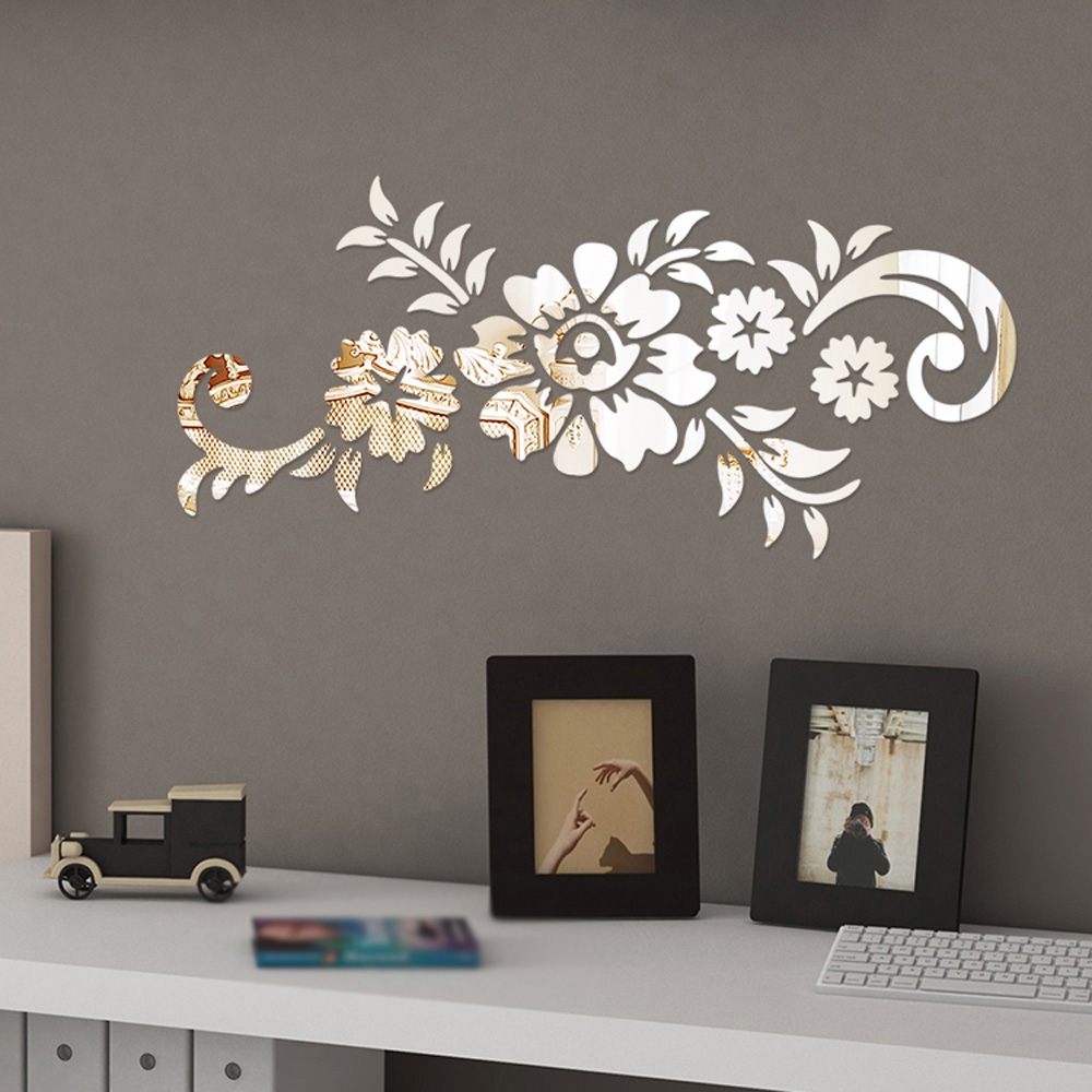 1*Wall Sticker Removable Acrylic Mirror Flower DIY Art Wall Sticker Mural Decal Home Room Decor 50x21.5cm Black/Gold/Silver
