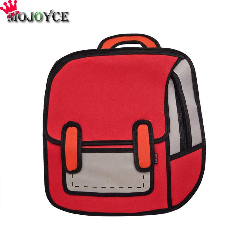 Fashion Women 2D Drawing Backpack 3D Jump Style Cartoon School Bag For Teenage Girls Boys Bagpack Mochila Feminina Mujer 2018
