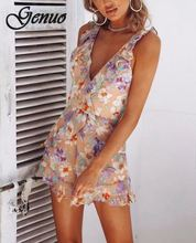 2019 Floral Print Halter Playsuit Women Sexy Summer Beach Boho Short Rompers Party Jumpsuits Overall