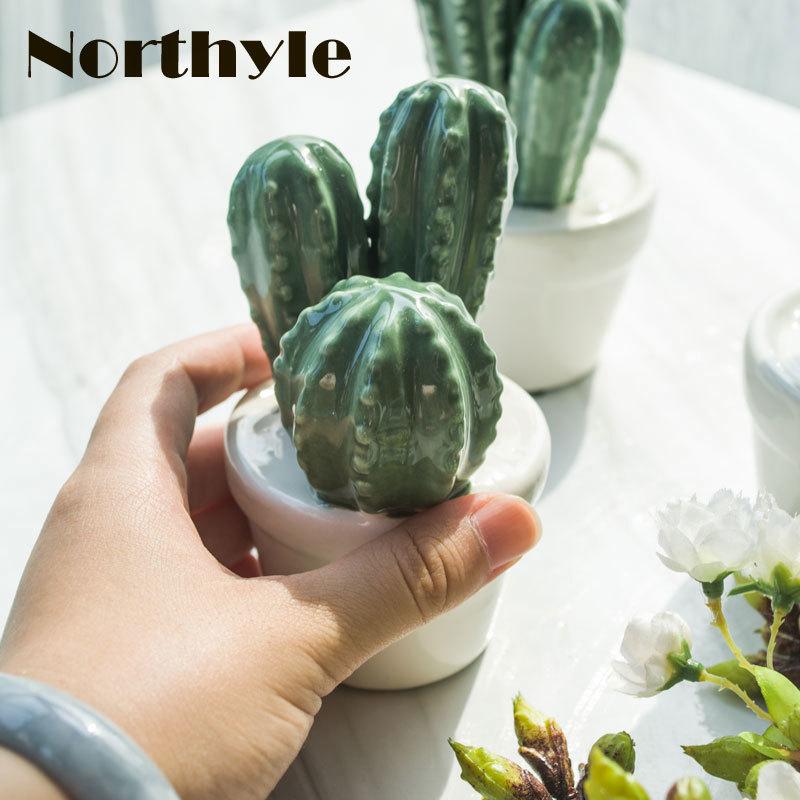 Northyle moderne Keramik Kaktus Pflanzen Figur Fee Garten Miniaturen - Wohnkultur - Foto 6