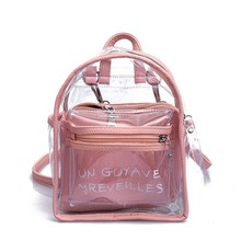 2019 Fashion Women Transparent Jelly Small Backpacks Girls Mini Clear Backpack  Summer New Letter Back Pack Drop Ship