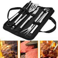 10Pcs Stainless Steel BBQ Barbecue Tool Set Clip Knife Shovel Utensil Grill Grilling Tool Accessories Kit With Black Oxford Bag