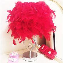 Bedside Reading Room Bedroom Sitting Heart Shape Feather Crystal Table Lamp Light EU plug Red