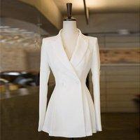 Empire Waist Women Blazers And Jackets Korean Full Sleeve Leisure Ladies Suit Jacket Fit Flare Black White