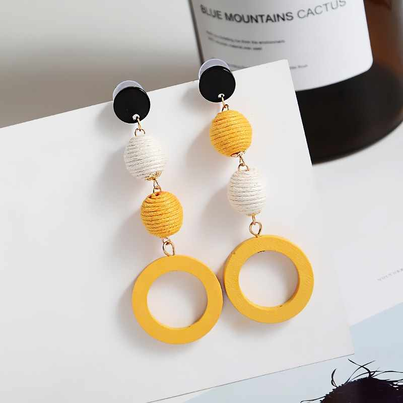 Fashion Wood Woven Hemp Rope Earrings for Women Candy Colors Vintage Round Ball Long Earrings New Statement Party Jewelry Gift
