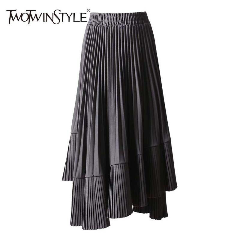 TWOTWINSTYLE 2019 Spring Korean Skirt For Women High Waist Asymmetrical Midi Elastic Pleated Skirts Female Casual Fashion Tide