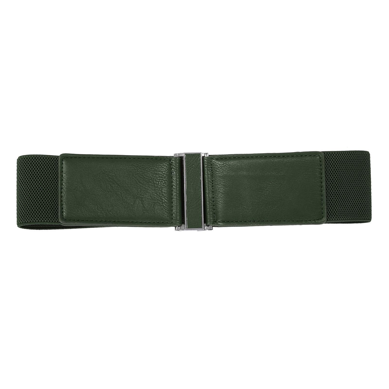 Women   Belt   Metal Hook Designed Buckle Wide Waist   Belt   Elastic Stretch Waist Band
