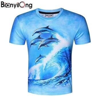 85ee3266a7a59 BIANYILONG новая стильная футболка с принтом дельфинов Мужская/женская  брендовая Футболка модная 3d футболка летние топы футболки Плюс Размер ..
