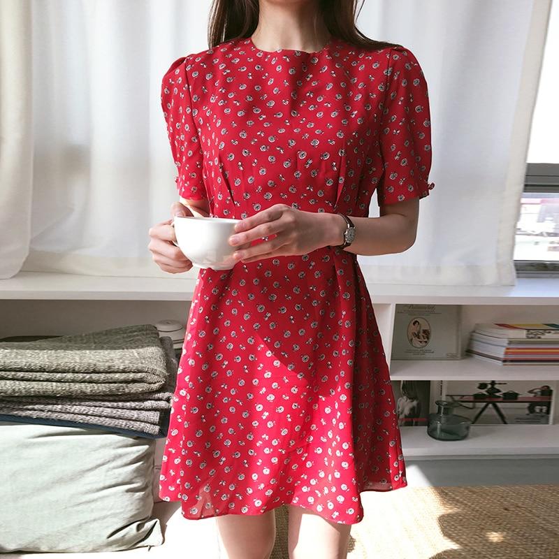 Floral Dress Red Vestidos Summer 2019 Vestido Korean Mini Short Cute Harajuku Robe Femme Ropa Mujer Dresses Sukienki Abiti Donna
