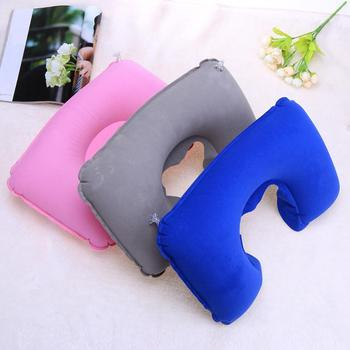 3 Pcs/Set Inflatable Pillow Travel Head Rest Bed Sleep Air Cushion Inflatable Double Sided Flocking Cushion Camp Office Car image