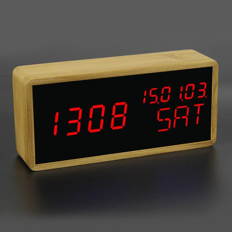 100% Bamboo Led Alarm Clocks Temperature Digital Clock Sounds Management Picket Desk Clock Adjustable Brightness Snooze Clock