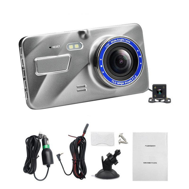 HD 4-дюймовый двойной объектив изображения 1080P скрытый широкоугольный видеорегистратор для вождения видеорегистратор двойной объектив Авто...