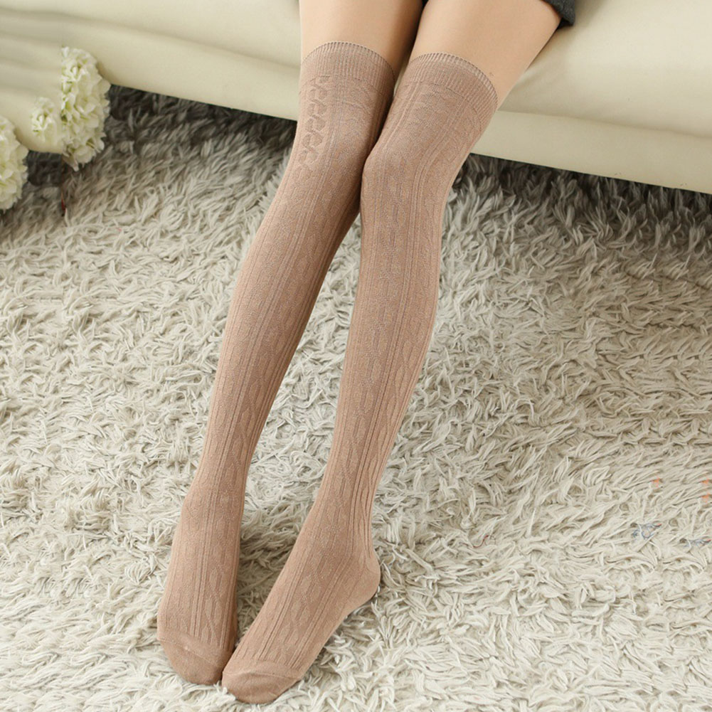 56423872622 Socks Winter Women Wool Braid Knitted Over Knee Socks Warm Thigh-Highs Hose  Stockings Hosiery   Socks