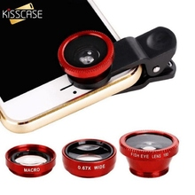 KISSCASE Universal 3 In 1 Round Wide-Angle Len For All Smartphone Camera Kit Fish Eye Lens For iPhone X For Samsung S9 S8 Phone цена