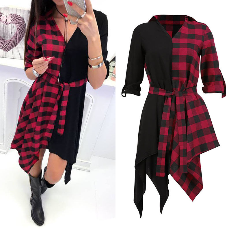 Womens V Neck Check Dress Long Sleeve Blouse Plaid Tops Sexy Mini Dress in Dresses from Women 39 s Clothing