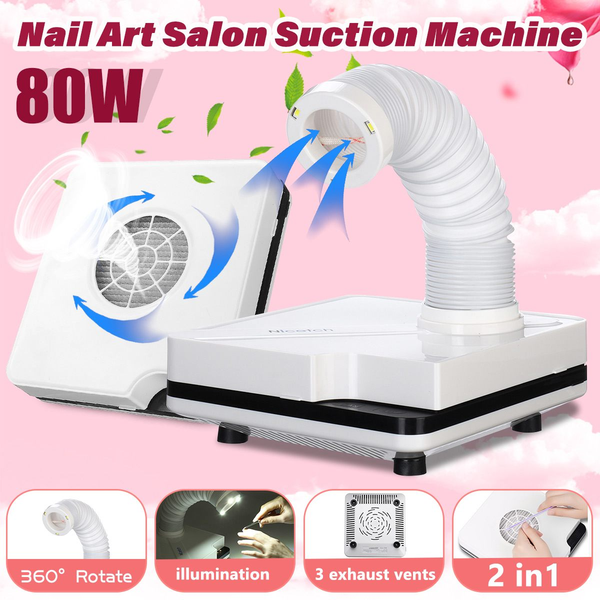 80W Nail Dust Collector Manicure Set Machine Nail Polish Cleaner Manicure Tools Vacuum Cleaner kit For Nail Art Dust Cleaner80W Nail Dust Collector Manicure Set Machine Nail Polish Cleaner Manicure Tools Vacuum Cleaner kit For Nail Art Dust Cleaner