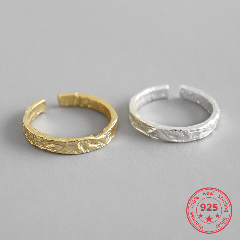 S925 Sterling Silver Ring Irregular Concave Surface Opening Personality Silver RingS925 Sterling Silver Ring Irregular Concave Surface Opening Personality Silver Ring