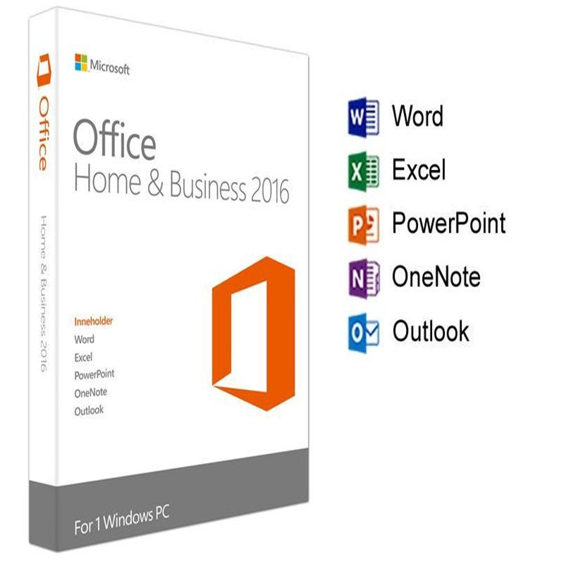 Microsoft Office Home and Business 2016 For Windows License Product key Code Retail Boxed inside DVD 32Bit 64Bit in Office Software from Computer Office
