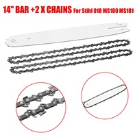 14 Inch Bar +3/8L 2Pcs Chains Fit For Stihl 018 Ms180 Ms181 Chainsaws Chain Saw Sets