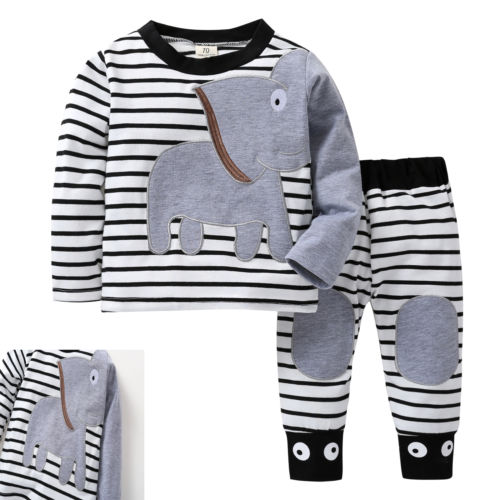 446315305a4a 2PcsToddler Baby Boy Elephant animals Sleepwear Long Sleeve Outfit ...