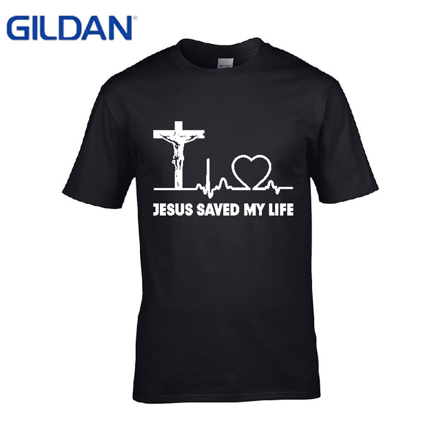 9afe404da422 Design Jesus Saved My Life Savior God Religion Prayer Faith Christian Gift  printed t shirt men 2017