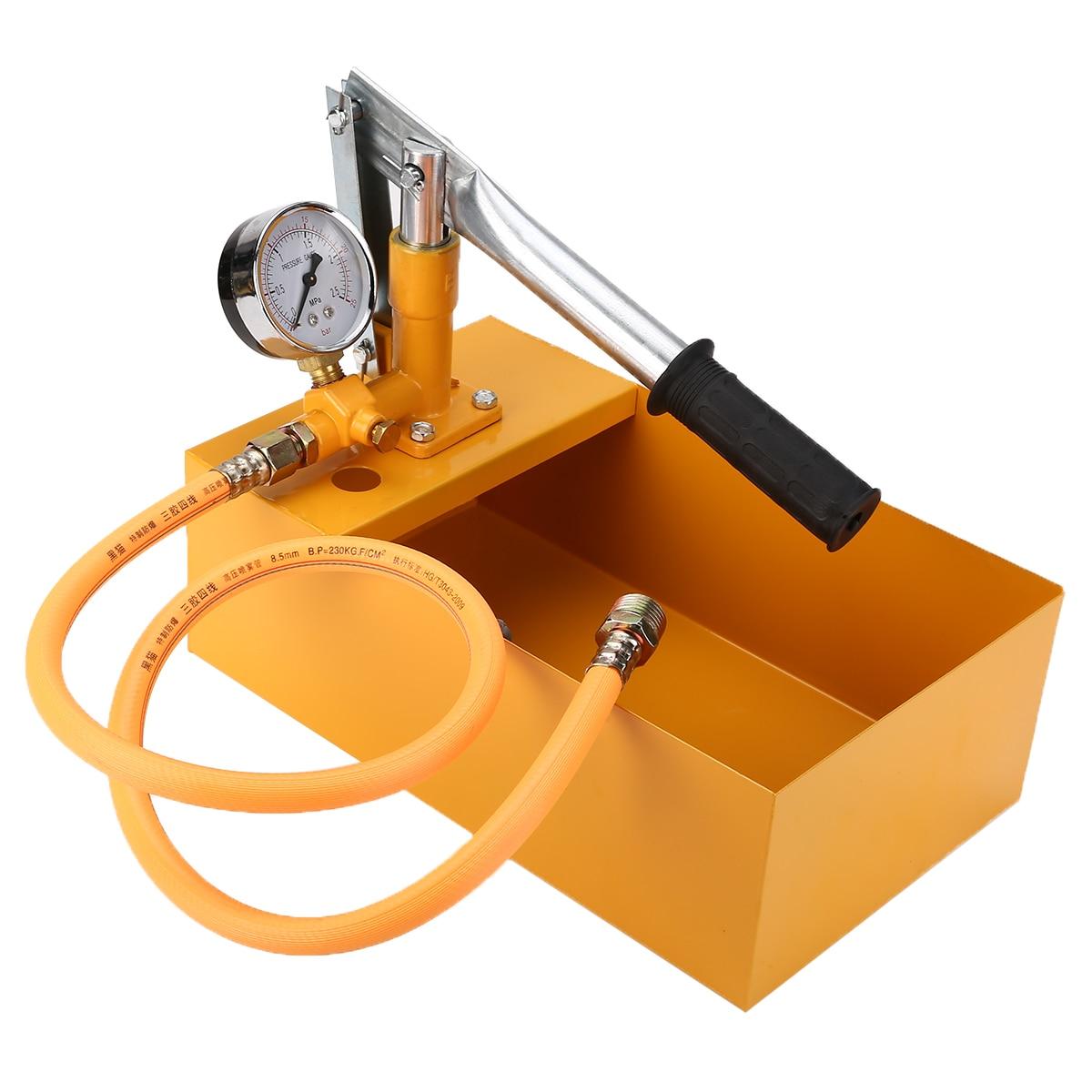 1 Set Yellow Water Pressure Tester 2.5MPa Pipeline Tester 25KG Manual Hydraulic Water Pressure Test Pipeline Tester Pump Machine