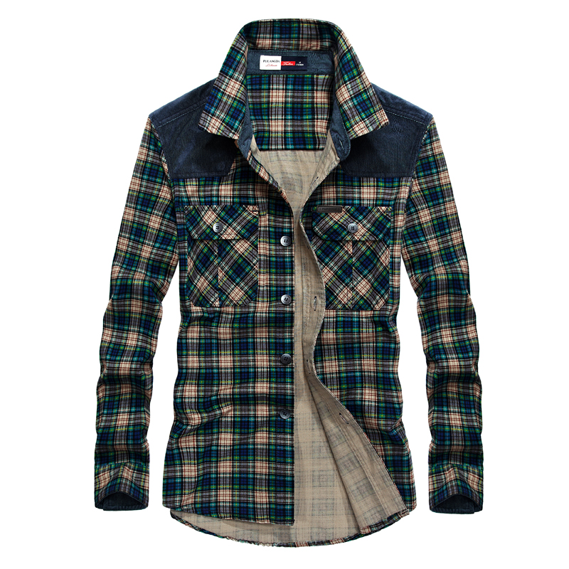 Mens Plaid Shirts Long Sleeve Shirt Spring Autumn Cotton ...