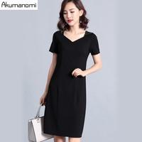 2019 Summer Dress Black Beading Square Collar Short Sleeve Plus Size Elegant Womens Bodycon Dresses Stretchy Slim Pencil Dress