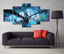 5 Piece HD Cartoon Movie Poster How To Train Your Dragon 3 Pictures Canvas Painting Wall Art for Home Decor
