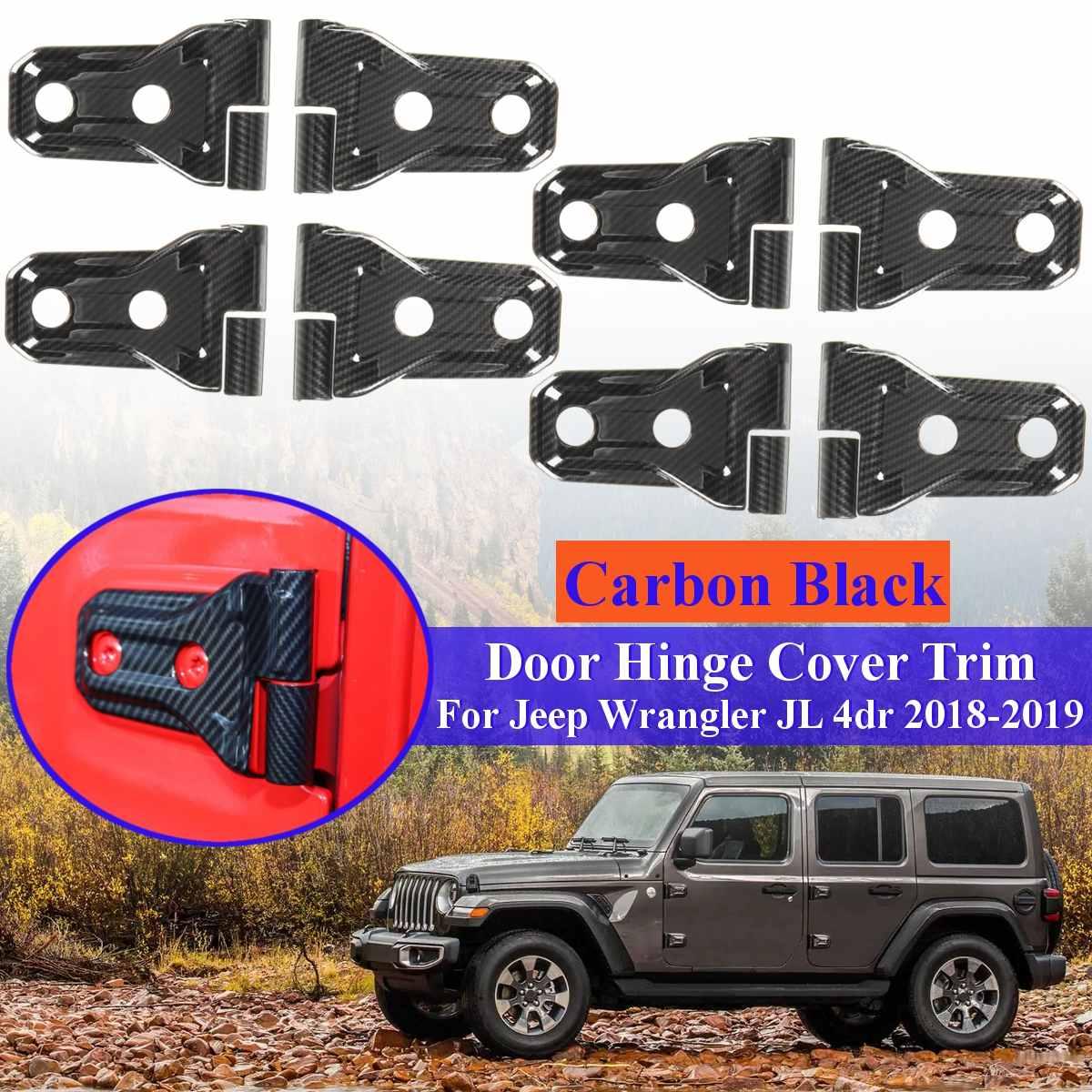 8 set 16 pièces fibre de carbone ABS voiture porte charnière protecteur couverture garniture pour Jeep pour Wrangler JL 4 porte 2018 2019
