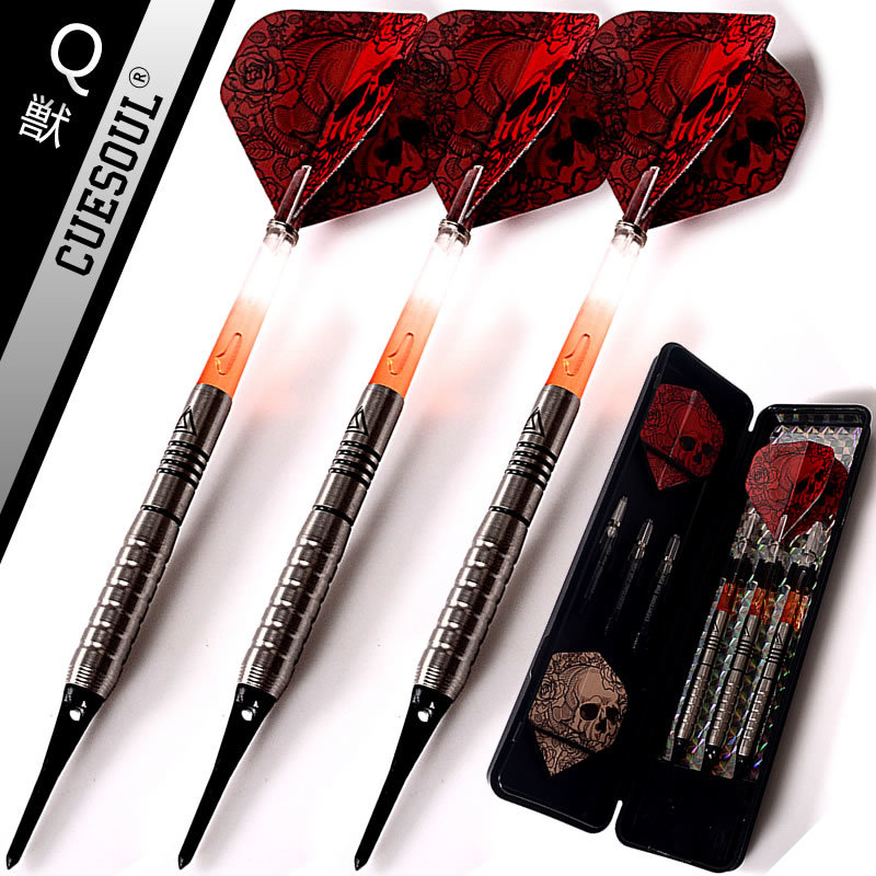 New CUESOUL 90% Tungsten Darts 3PCS/set 18g Professional Soft Tip Darts Electronic Darts Red Darts Flights canada flag style magnet darts black white red 3 pack page 1
