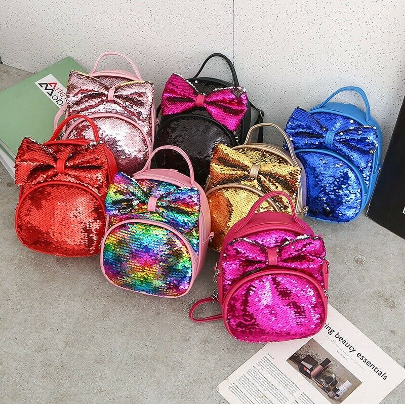 New 2019 Chlidren Kids Shoulders Bag Cute Sequins Bow Casual Travel Girls Backpack Sequined Bow Backpack