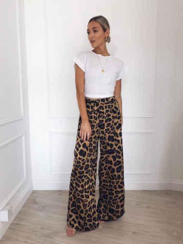 Модные женские повседневные свободные длинные штаны с леопардовым принтом и змеиным принтом в богемном стиле с высокой талией, шикарные свободные женские брюки, новинка