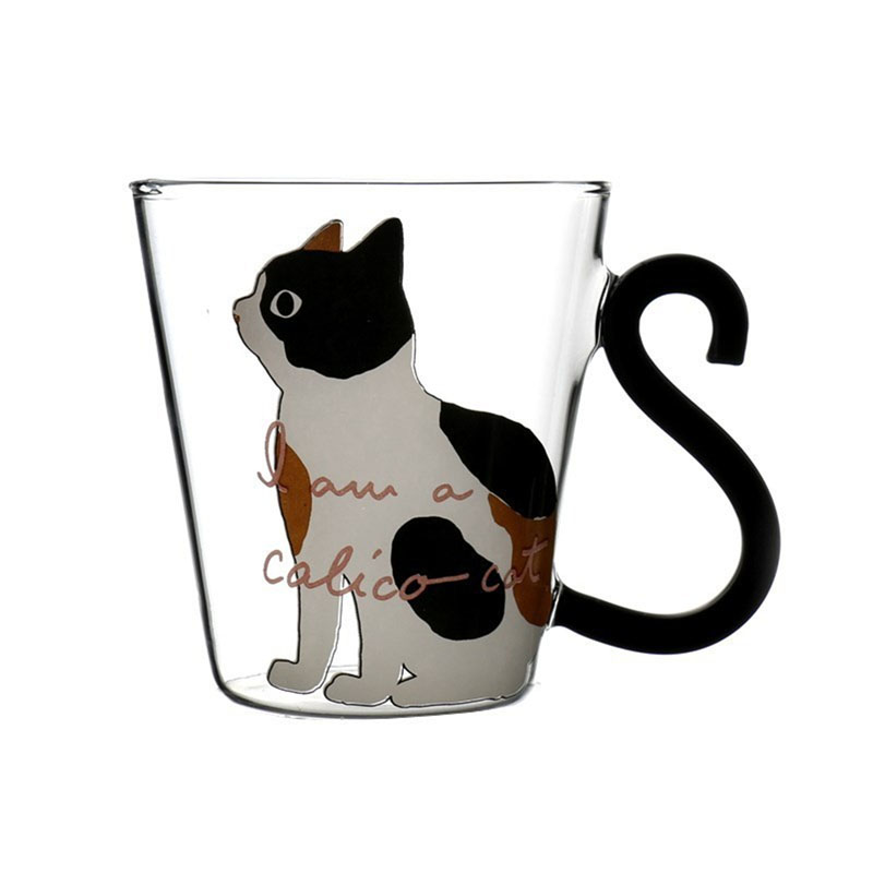 Personality Glass Water <font><b>Cup</b></font> Korean <font><b>Japanese</b></font> Style 3D <font><b>Cat</b></font> Printed Heat-resistant Milk <font><b>Cup</b></font> Juice Mug Insulated Coffee Mugs 8.5oz image